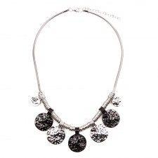 Rusztikus ezüstszín-fekete érmék nyaklánc