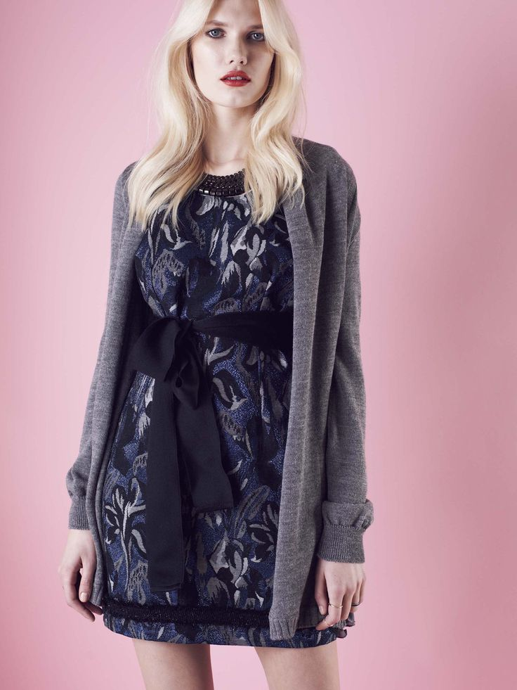 Model wears Naughty Dog jacquard #dress, with lurex effect and a tricot & silk cardigan.