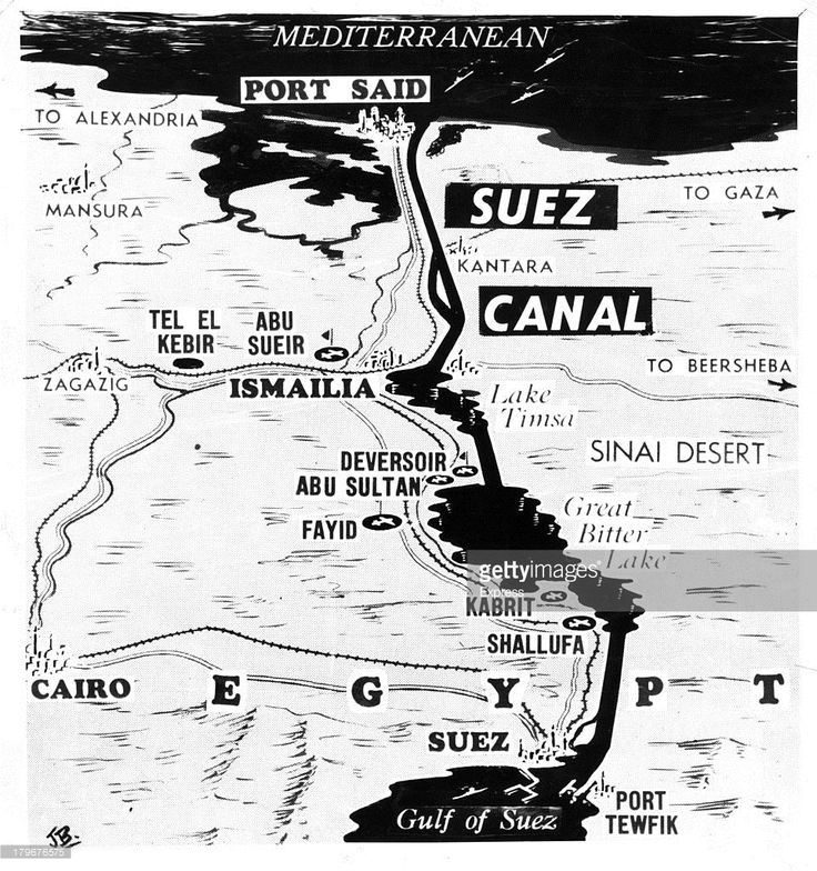 This map gives the location of former British bases in the Suez Canal zone, in Egypt, 11/1/1956.