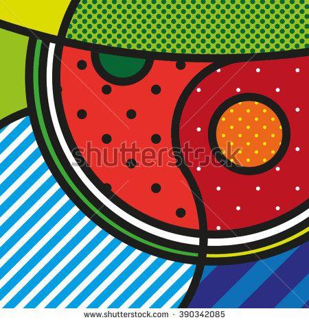 POP ART Watermelon. Slice of watermelon, summer fruit, vector icon. Big watermelon slice cut with seed.https://www.shutterstock.com/g/lilli_jemska?rid=158830&utm_medium=email&utm_source=ctrbreferral-link