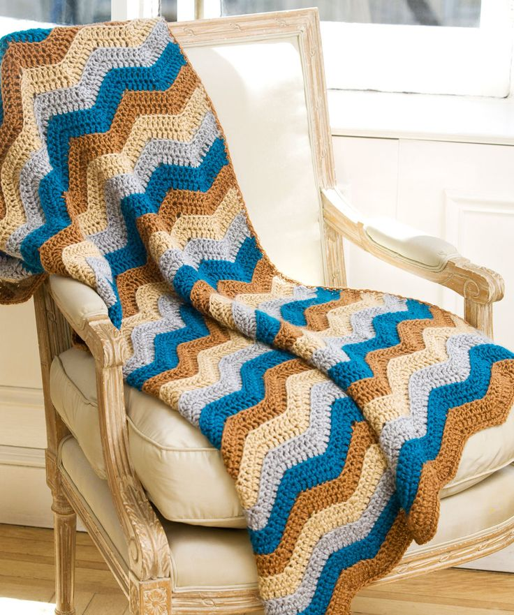 """STRIPES, RIPPLES, WAVES, ETC. COLORS: FREE Pattern """"Ripple Lapghan"""" LW2247 from RedHeart.com @Sarah Therese Heart Yarns"""