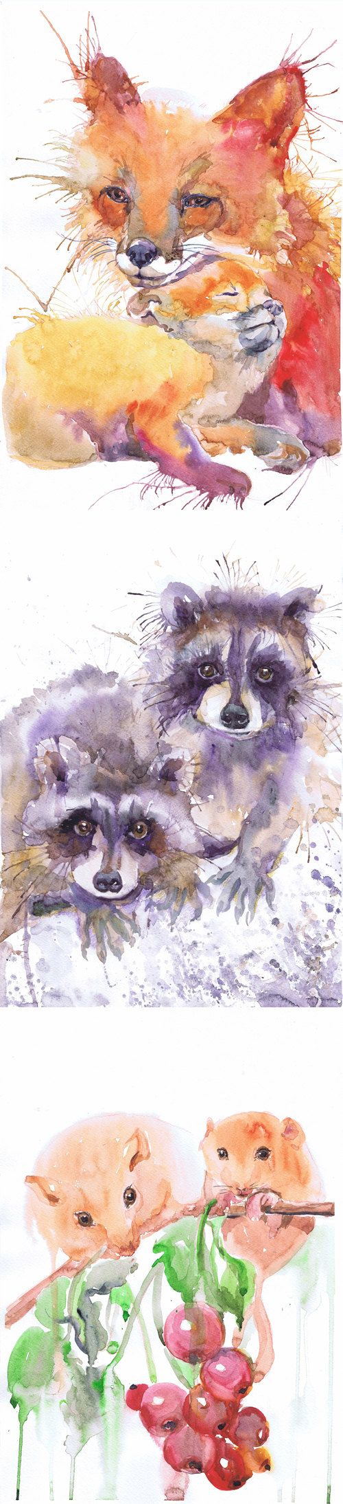 Watercolor artist magazine review - Atc Set Of 9 Signed Art Watercolor Artist Trading Cards Prints Painting Aceo Woodland Animals Baby Giclee Collectible Card Watercolour Set Of 9 Signed