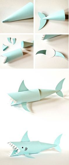Shark Paper Tube Craft. Cute ocean and recycled craft for kids                                                                                                                                                                                 More
