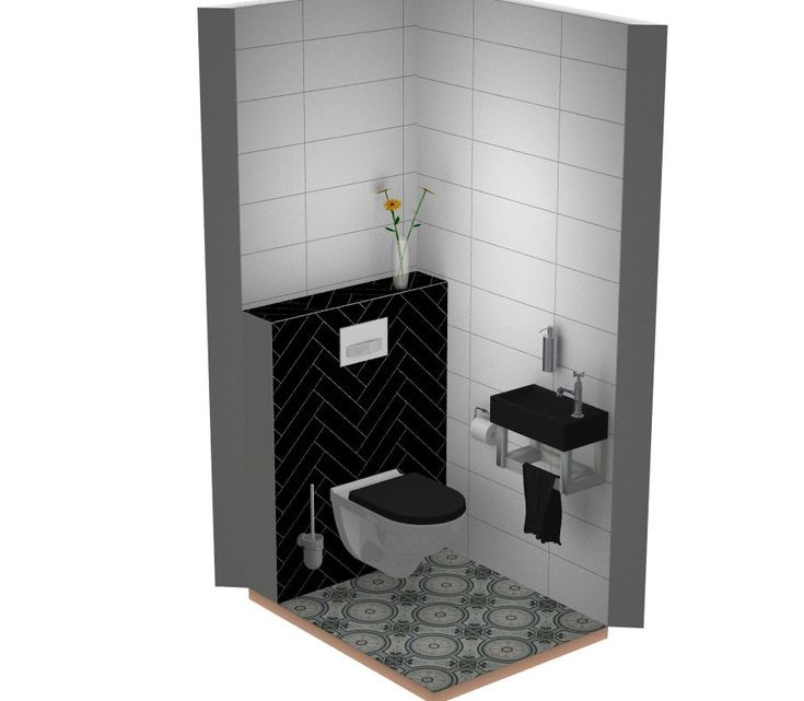 Toilet idee: tegels met patroon op de vloer en visgraat patroon wandtegels. Prachtige toilet in oude stijl.