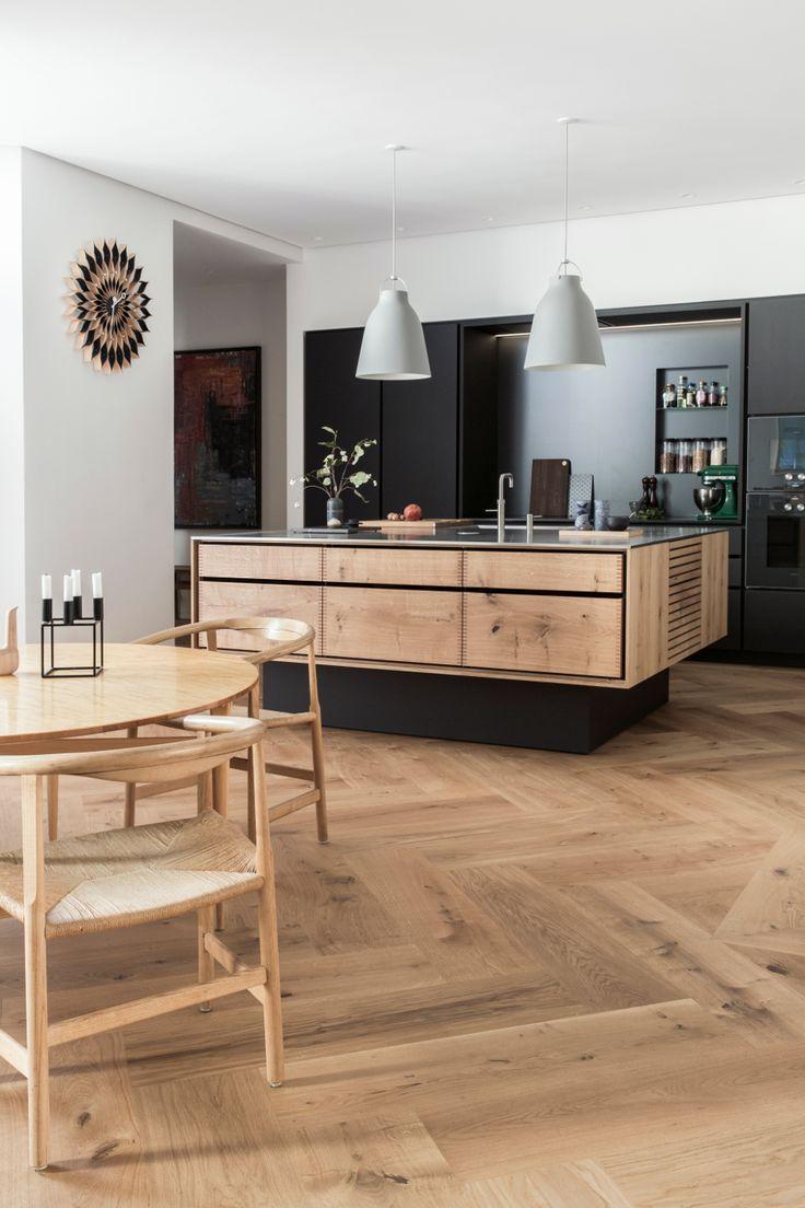Model Dinesen kitchen island and linoleum tall cabinets