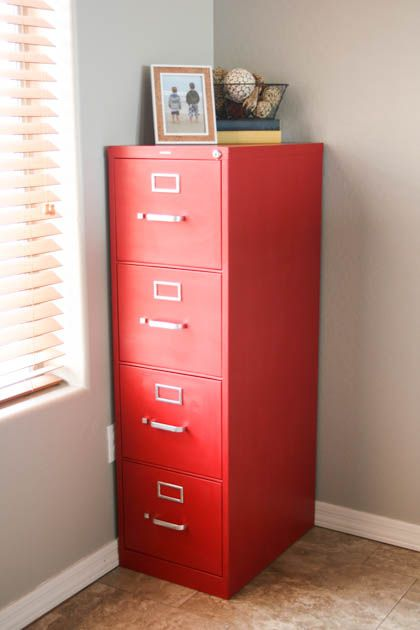File cabinets don't have to be boring! Quickly and easily give your boring cabinet a makeover with chalk paint for a gorgeous new look!