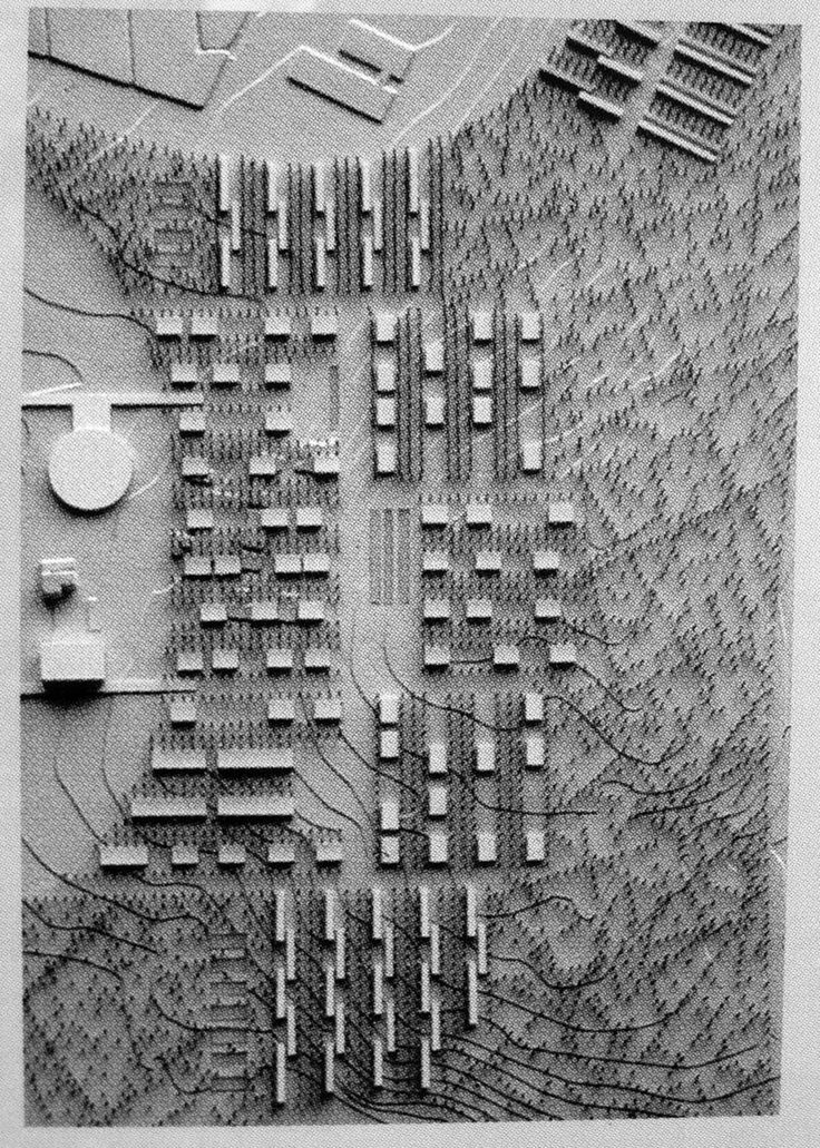 Model for a forest city, 1992, from <i>Herzog & de Meuron, urban projects</i>. (Tokyo: TN Probe, 1997)