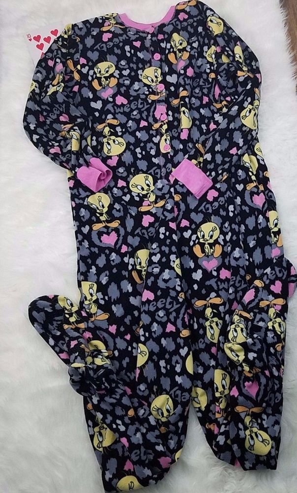 Looney Tunes Tweety Bird Adult Footed One Piece Pajamas XXL Buttons Flannel EUC #LooneyTunes #PajamaSets