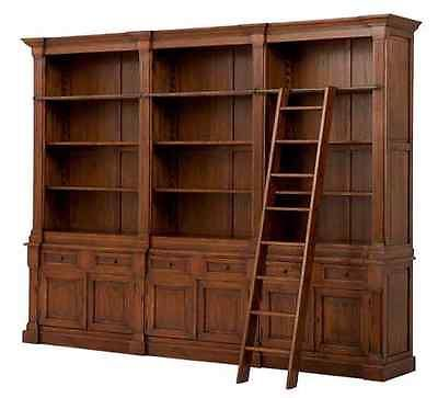 French Provincial Solid Oak Library Bookcase With Br Rail Ladder Black