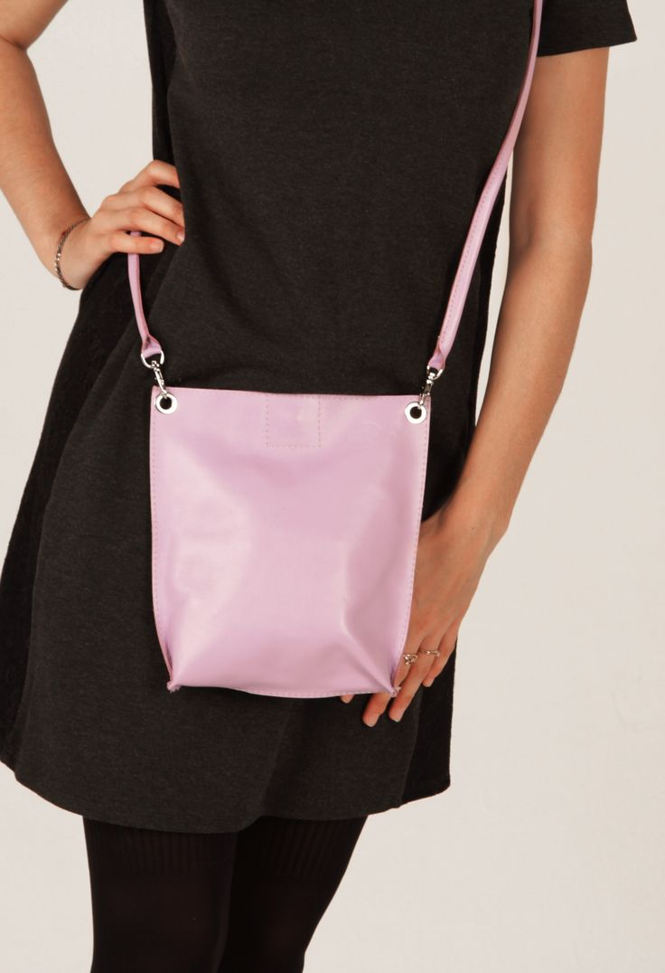 Pastel Lilac Leather Crossbody Bag, Small Leather Purse by A-Rada