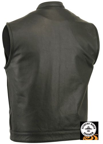 Shop Mens Sharp Shooter Motorcycle Black Leather Club Vest