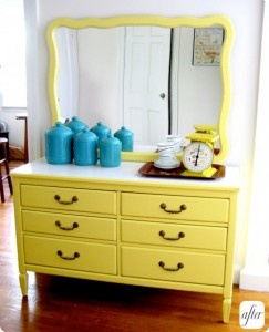 yellow! wish I would have kept this furniture!  I had two dressers, a night stand and a vanity!