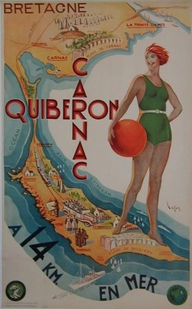 Quiberon Carnac - Bretagne Vintage travel poster art deco ca. 1930