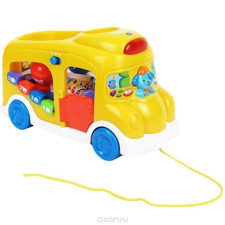 """Игрушка-каталка развивающая Vtech """"Школьный автобус"""", цвет: желтый  — 3496р.  Развивающая игрушка-каталка Vtech """"Школьный автобус"""" позволить вашему ребенку весело и увлекательно провести свое время. Игрушка выполнена из безопасного пластика и представляет собой автобус с открывающейся дверцей, оснащенный световыми и звуковыми эффектами. В передней части игрушки находится кнопка в виде собачки-водителя, нажав на которую, малыш услышит звуки сигнала автобуса и гавканье собаки. Сверху автобуса…"""