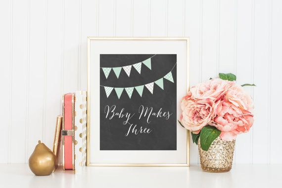 8x10 Baby Makes Three  Mint Bunting Flags Instant by FloraAndFont