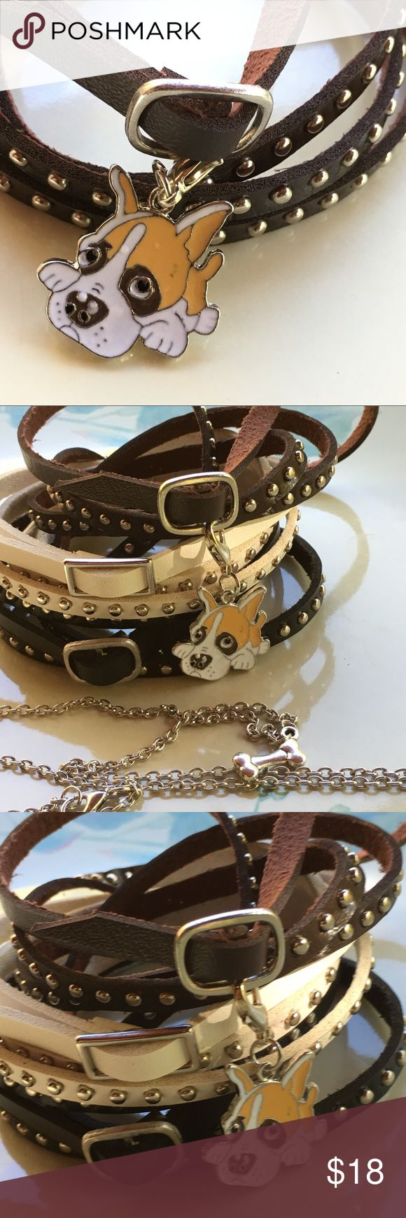 """Goofy dog 🐶 bulldog enamel clip Puppy dog enamel clip 🐶 on leather bracelet/ choker or  silver colored chain. Choose 20"""" silver colored chain🐾 OR 🐾 White, brown or Black strap leather with silver colored metal accents and buckle. Leather bracelet/choker is  approx 36"""". 🐾🐾IF you only want the clip charm, choose CHARM ONLY and bid $10. Cute dog could be a bulldog, pitt bull, boxer any dog you might know. (I think it looks like me!) 🐕🐾Fun addition for a goth/ punk  look or just to wear…"""