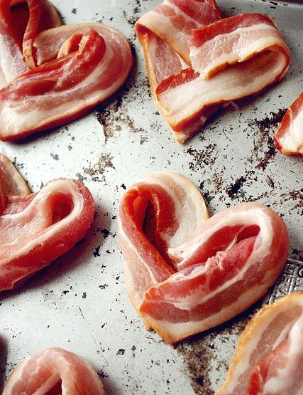 Valentine's Day breakfast: heart-shaped bacon