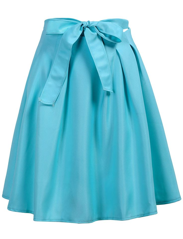 With Zipper Bow Flare Skirt