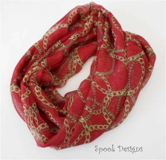 A personal favorite from my Etsy shop https://www.etsy.com/listing/262465643/infinity-scarf-chiffon-terracotta-gold