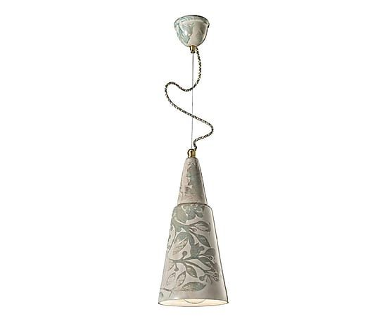 Ceramics cone form, floating suspension with autumn theme, expression of lightness.