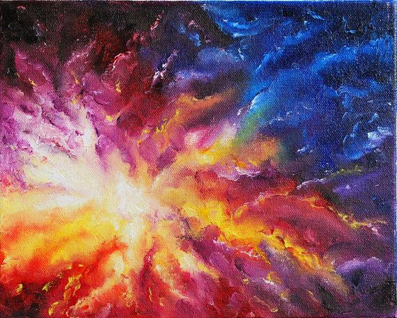 Original Oil Painting Abstract Expressionism Space Art