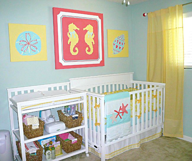 Project Nursery - Girl Nautical Nursery. This is the first girl nursery that I absolutely love! Saving  for later...
