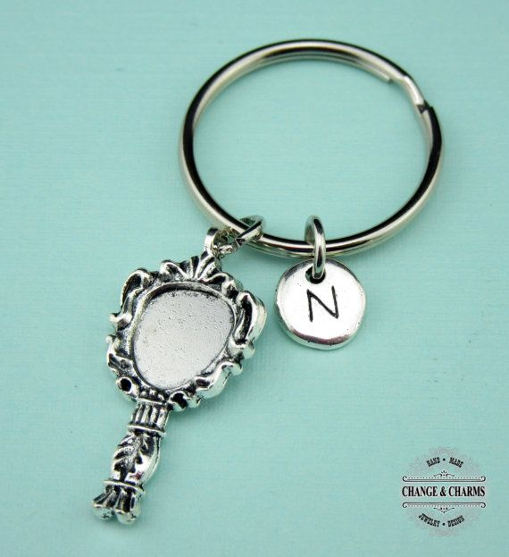 Mirror Keychain, Mirror Charm, Mirror, Cosmetologist Gift, Custom Keychain, Personalized Gift, Initial Charm, Keychain,Silver Plated Initial