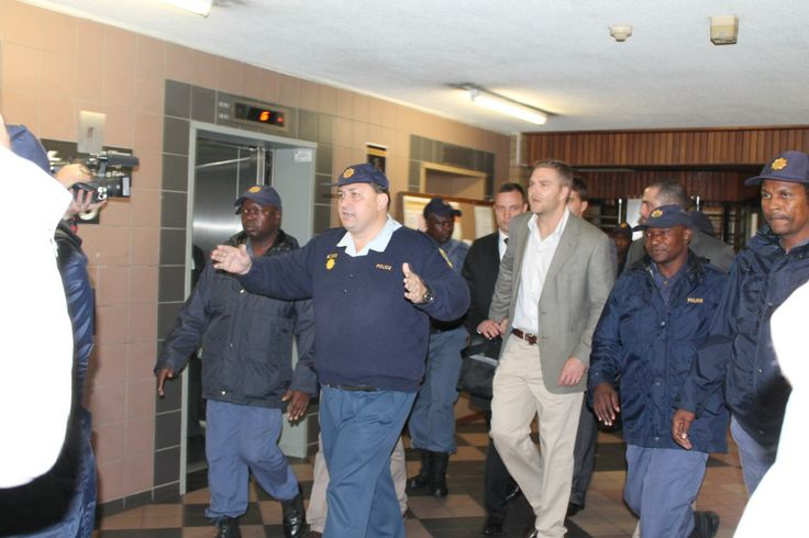 Oscar Pistorius and his team is escorted by the South African Police Service.