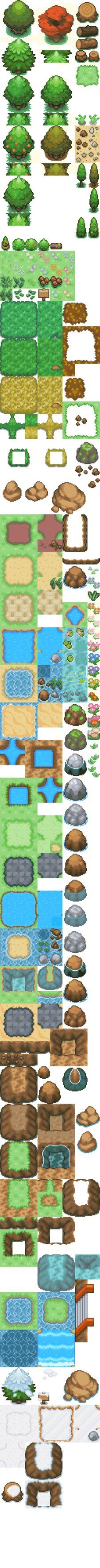 I chose to pin this because i really love the pixel art for this tile set and would be great to take ideas from this for my game