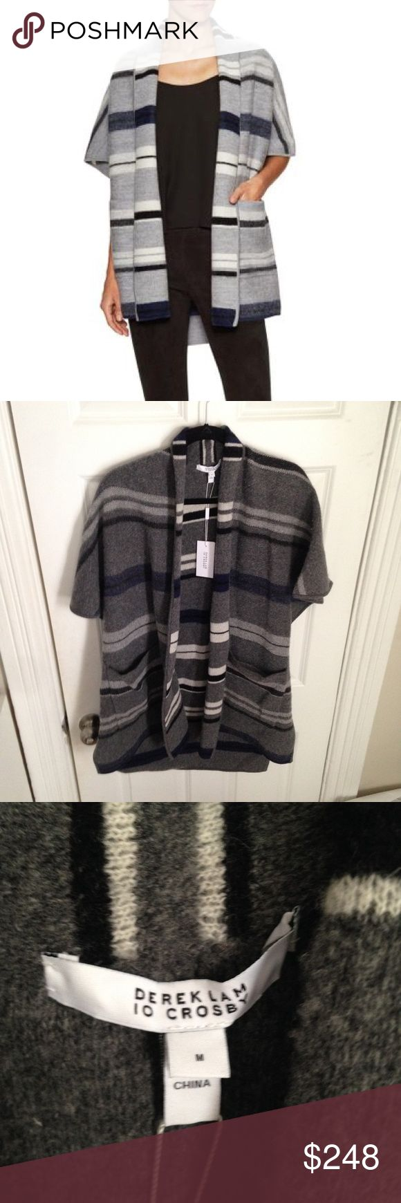 NWT Derek Lam Blanket Card wool cardigan medium Graphic stripes throughout Shawl collar Dolman sleeves Cape at back Tonal topstitching and panel seaming 100% wool  No trades, offers welcome. 10 Crosby Derek Lam Sweaters