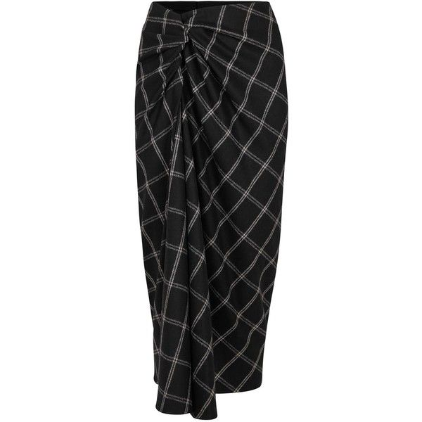 Lanvin Checked Twisted Wool Blend Midi Skirt ($230) ❤ liked on Polyvore featuring skirts, checkered skirt, lanvin skirt, calf length skirts, wool blend skirt and lanvin