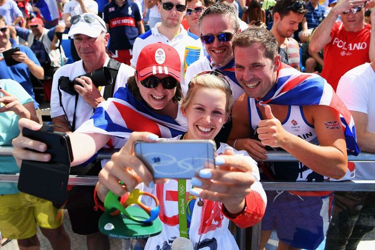 Silver selfie:    Victoria Thornley of Great Britain celebrates with supporters after winning silver with Katherine Grainger in the Double Sculls final on Aug. 11.