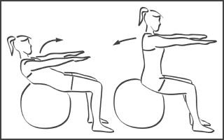 Swiss-ball : Abdominaux - Exercice avec ballon N°1