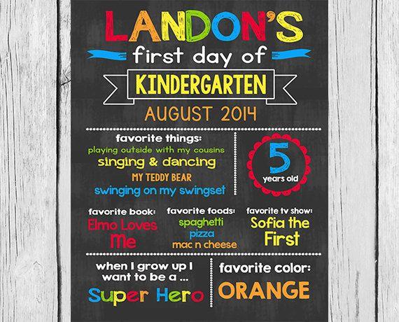 Kinder Garden: ANY GRADE CHALKBOARD- First Day Of School Chalkboard