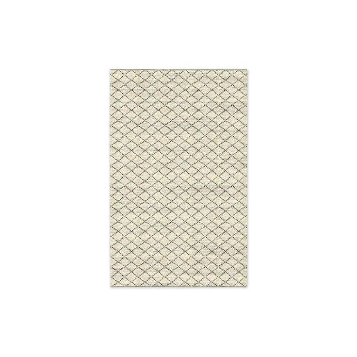 West Elm Watercolour Trellis Wool Shag Rug - Ivory