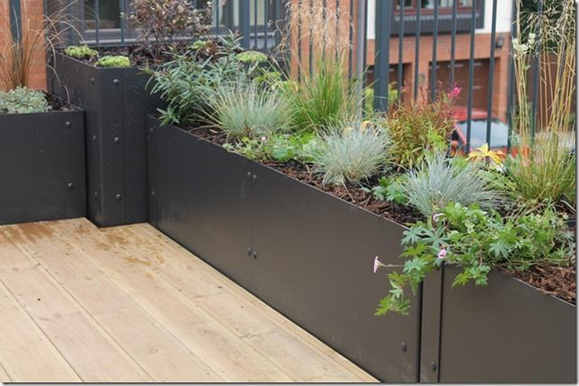EverEdge Steel Planters are perfect for a modern roof terrace