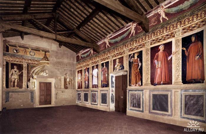 Фрески, изображающие «9 знаменитых людей».  1445 и 1457 гг., ныне в монастыре Сант-Аполлония во Флоренции, превращенном в музей Кастаньо.
