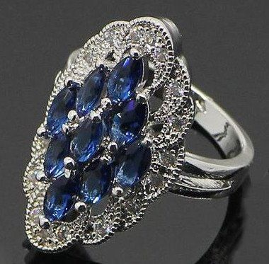 Absolutely Stunning 925 Sterling Silver Art Deco Style Genuine Blue Tanzanite UCHARMME.co.nz