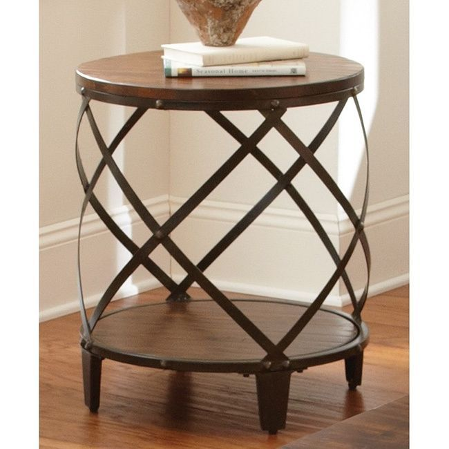 Iron And Wood Side Tables Living Room ~ Greyson living windham solid birch iron round end table