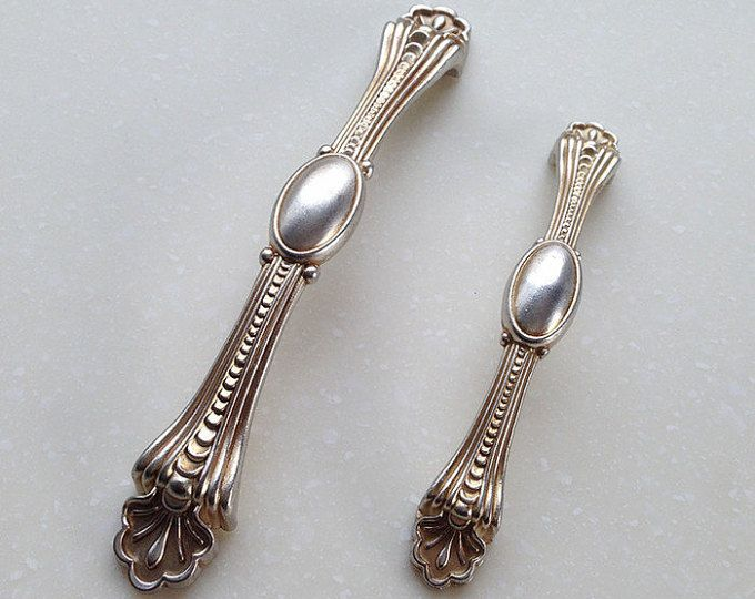 """3.75"""" 5"""" French Style Shabby Chic Dresser Pulls Handles / Antique Silver Kitchen Cabinet Pull Handle Furniture Hardware 96 128MM"""