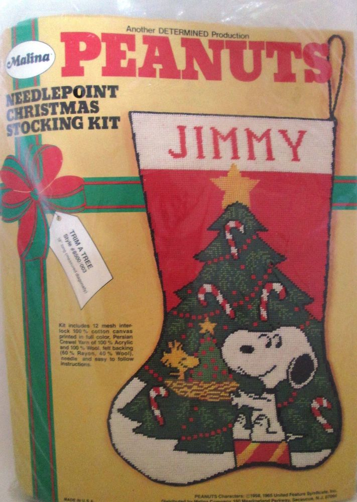 Malina 8500/003 TRIM A TREE Snoopy  Needlepoint Stocking Kit ~ Sealed #Malina