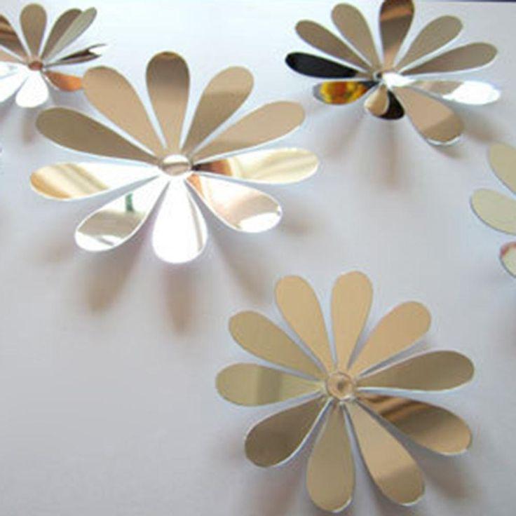 Diy 3d spiegel muurstickers mooie woondecoratie bloemen sticker decor 8 kleuren