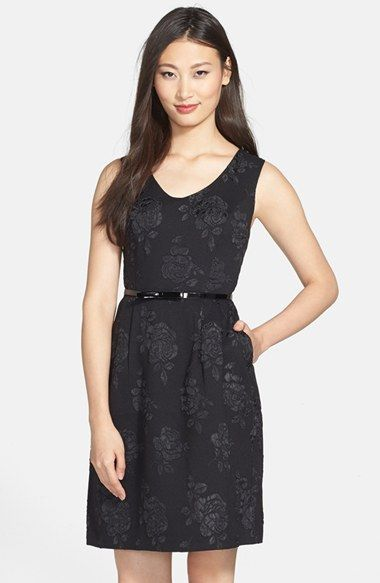 Ellen Tracy Rose Jacquard Sleeveless Fit & Flare Dress available at #Nordstrom