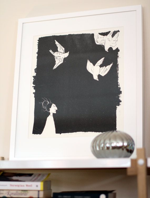 """This is a hand pulled original greyscale lithography art print on 300g Hahnemuhle paper.  Original artwork in finnish """"Päivä jona maailma loppui"""", translated """"The worlds last day"""".   It is one in an edition of 11. Due to the nature of printmaking each print is slightly different as I have to ink up the stone by hand for each print. The print measures 34.5 x 40.5 cm ( ~13.6"""" x 15.9"""" ). Sold without the frame, framed available in Finland only."""