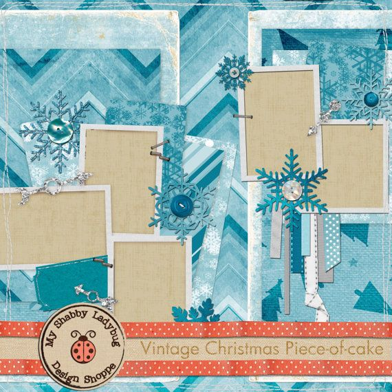 Vintage Christmas Piece-of-Cake Album Page!  Snowflakes, Ribbons,Stitches INSTANT DOWNLOAD!