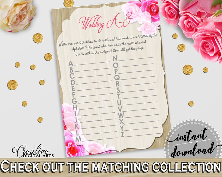 Pink And Beige Roses On Wood Bridal Shower Theme: Wedding A-Z Game - abc activity, light bridal shower, shower activity, party theme - B9MAI #bridalshower #bride-to-be #bridetobe