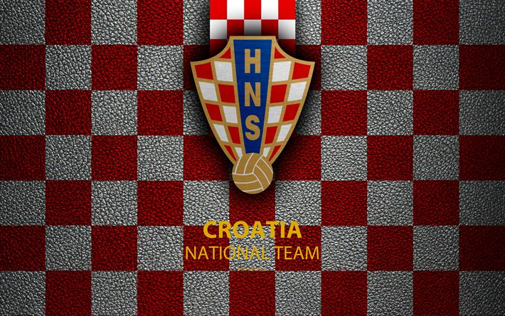 Download wallpapers Croatia national football team, 4k, leather texture, emblem, logo, football, Croatia