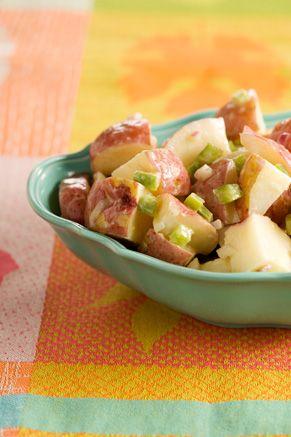 This is my FAVORITE potato salad EVER!!!!  It's like a mix between German potato salad and your traditional potato salad.  YUMMM  Paula Deen's Red Potato Salad