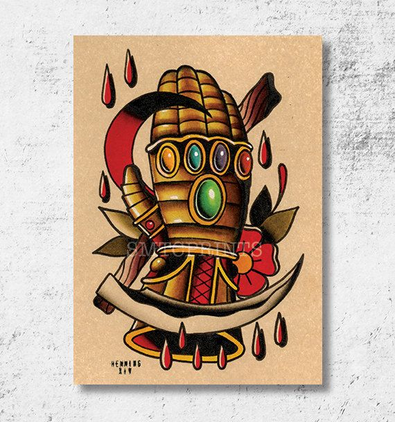 Infinity Gauntlet Print 5x7 by Brian Hemming by SMTCprints on Etsy