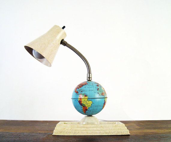 Mid Century Gooseneck Desk Lamp with Globe by twentytimesi on Etsy, $38.00